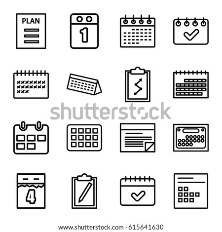 Agenda Icons Set. Set Of 16 Agenda Outline Icons Such As Calendar, Plan,  Agenda Outline