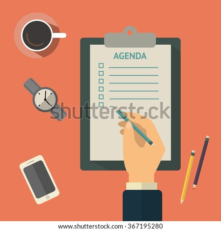 Agenda list concept vector illustration. Business concept with paper agenda, pen, coffee, watch, phone, clipboard in flat style.  - stock vector