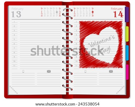 Agenda with scribbled heart drawn on February 14th page - stock vector