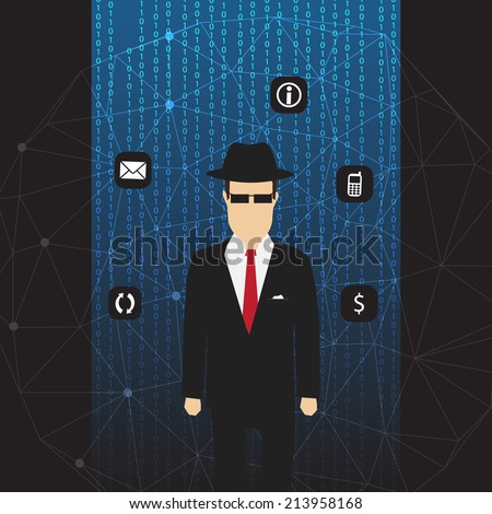 Agent of Information on Abstract Net Background with Code and Icons - Vector Illustration - stock vector