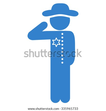 Agent Officer vector icon. Style is flat symbol, cobalt color, rounded angles, white background.