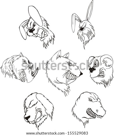 Aggressive animal heads. Set of black and white vector tattoo designs.
