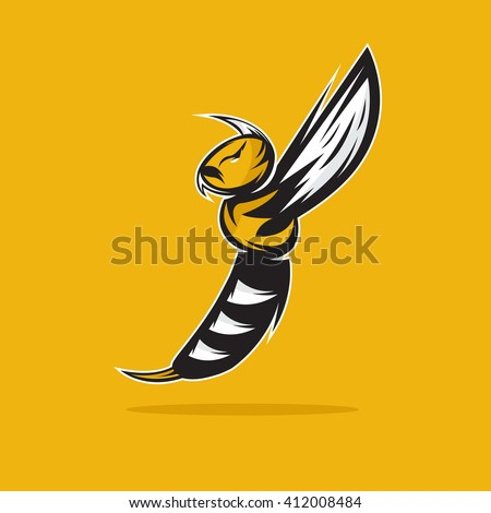 aggressive bee or wasp mascot vector design template