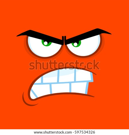 aggressive cartoon funny face angry expression stock