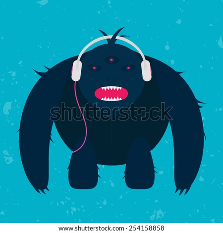 Aggressive Monster with Headphones - stock vector