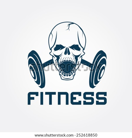 aggressive skull and barbell fitness emblem - stock vector