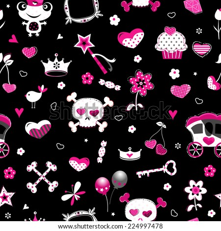 aggressive style fashion seamless pattern in black, pink and red  - stock vector