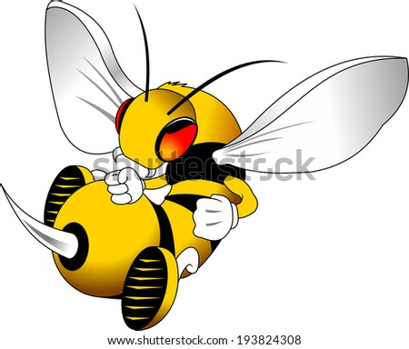 aggressive wasp in a fighting stance, vector and illustration