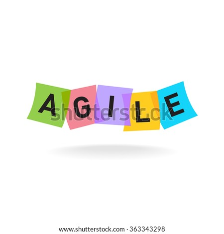 Agile word logo. Agile letters with overlay color square office stickers. Transparency are flattened. - stock vector