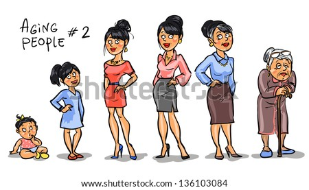 Aging people  - set 2, Women at different ages. Hand drawn cartoon women, family members isolated, sketch - stock vector