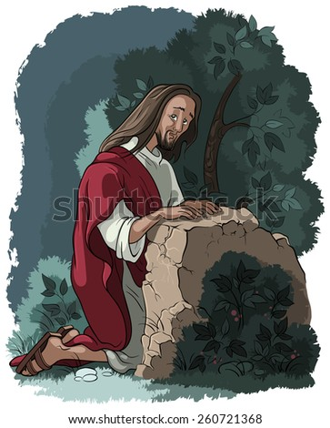 Agony in the garden. Jesus in Gethsemane scene. Night before the crucifixion. Also available outlined version - stock vector