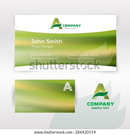 Agrarian modern looking business card + logo - stock vector