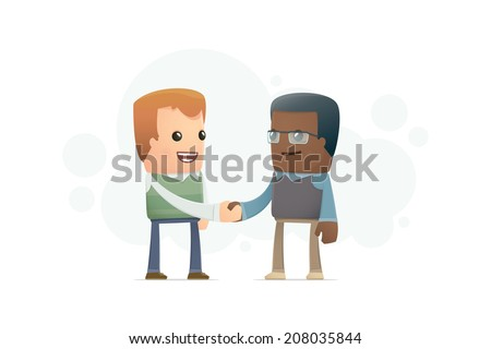 agreement between two scientists. conceptual illustration - stock vector