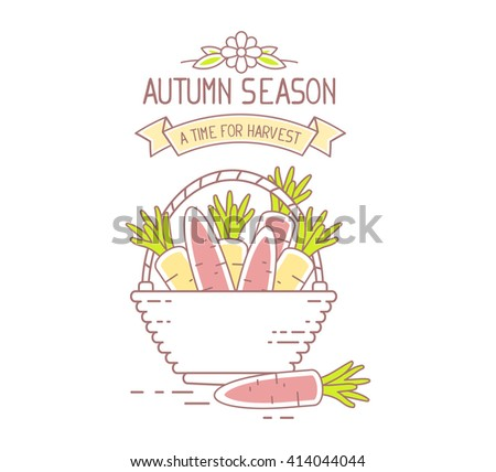 Agribusiness. Vector illustration of wicker basket filled with orange tasty carrots on white background. Harvest time. Autumn season. Thin line art flat design of harvest of carrot for harvest theme - stock vector