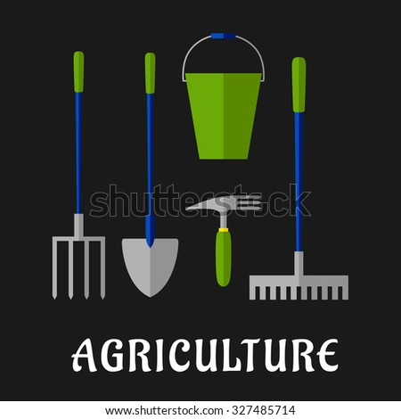 Agricultural and gardening tools icons with shovel, rake, pitchfork, bucket and hand fork, for agriculture or farming themes design, flat style - stock vector