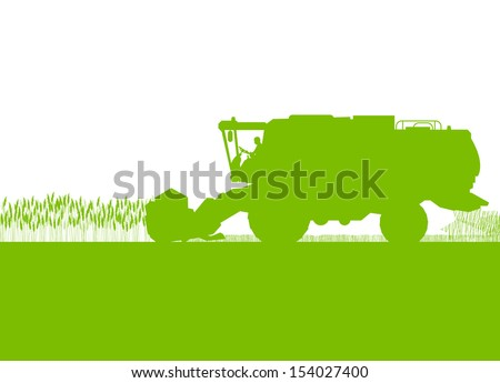 Agricultural combine harvester in grain field seasonal farming landscape scene illustration background vector ecology concept - stock vector
