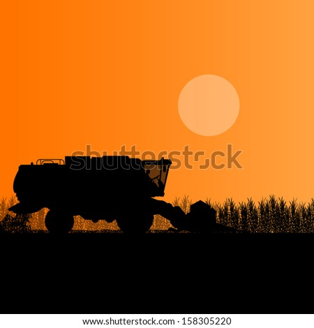 Agricultural combine harvester in seasonal corn field farming landscape scene illustration background vector - stock vector