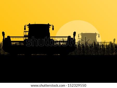 Agricultural combine harvesters in seasonal corn field farming landscape scene illustration background vector - stock vector