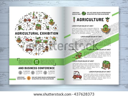 Agricultural Exhibition business brochure design template, flyer or card. Vector agriculture and gardening circle colorful infographics concept, Farming line art icons, Garden tiller and farm machines