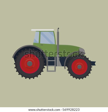 Agricultural green tractor. Vector flat illustration.