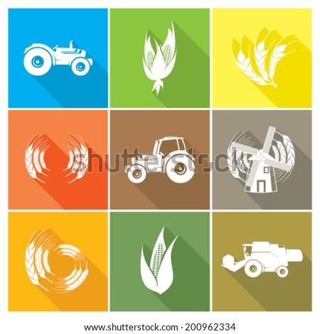Agricultural icon set with shadow effect - stock vector