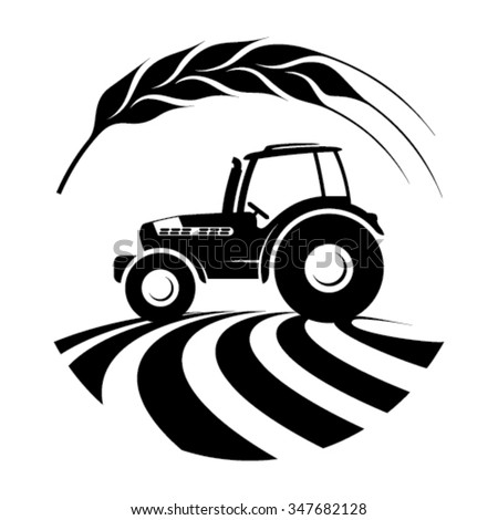 Agricultural tractor in a field - with a wheat ear  - stock vector
