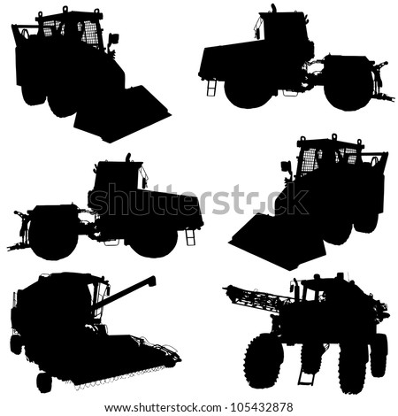 Agricultural vehicles silhouettes set. Vector illustration. - stock vector