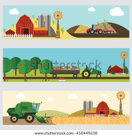 Agriculture and Farming. Agribusiness. Design elements for info graphic, websites and print media. Vector illustration. - stock vector