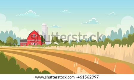 Agriculture And Farming, Farmland Field Countryside Landscape Flat Vector Illustration