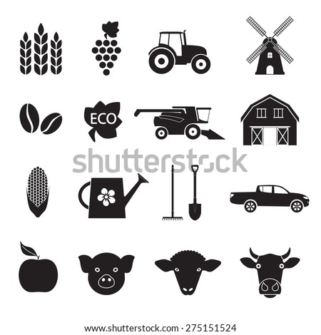 Agriculture and farming icon set. Black icons isolated on white background. Vector illustration. - stock vector
