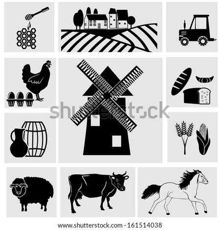 Agriculture and Farming icons - stock vector