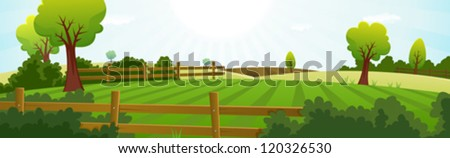 Agriculture And Farming Landscape Banner/ Illustration of a spring or summer agriculture and farming wide landscape with fields, pasture, meadows, hedges, fences, trees, lawn and grass for dairy cows - stock vector