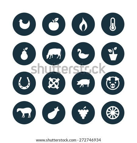 agriculture, farm icons universal set for web and mobile