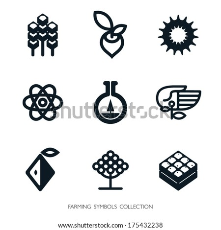 Agriculture icon set. Vector graphic elements. Logo template. - stock vector