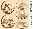 Agriculture landscape and  cereal  harvest labels - stock vector