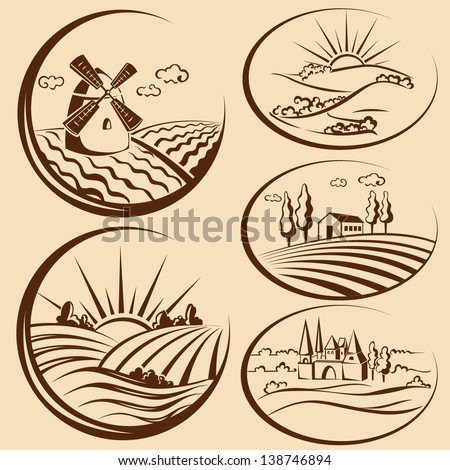 Agriculture landscape and  cereal  harvest labels - stock vector