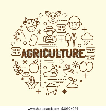 agriculture minimal thin line icons set, vector illustration design elements