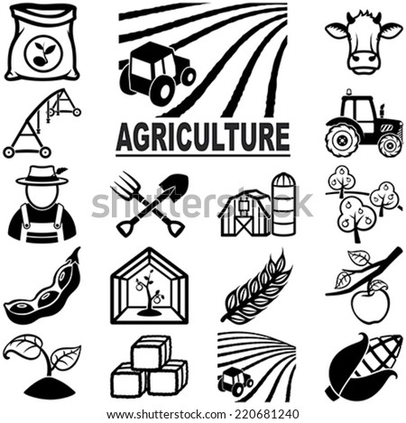Agriculture related vector icons / silhouettes - stock vector