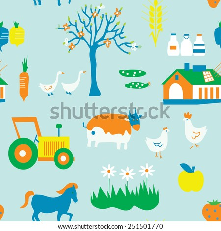 Agriculture seamless pattern with trees, animals and house - stock vector