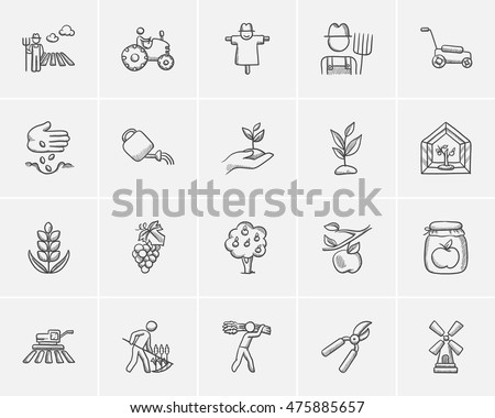 Agriculture sketch icon set for web, mobile and infographics. Hand drawn agriculture icon set. Agriculture vector icon set. Agriculture icon set isolated on white background.