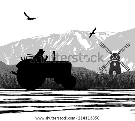Agriculture tractor in cultivated country fields landscape with windmill, vector illustration - stock vector