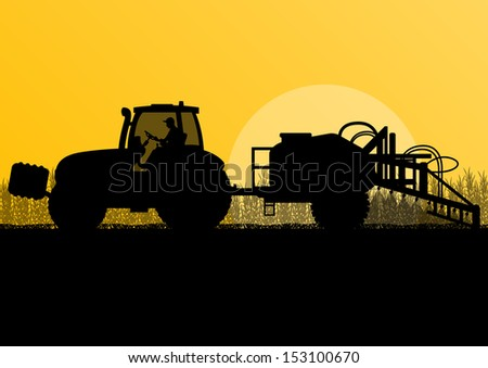 Agriculture tractor spraying pesticides in cultivated country corn field landscape background illustration vector - stock vector