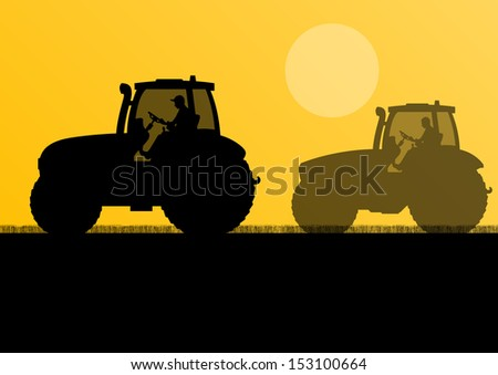 Agriculture tractors in cultivated country field landscape background illustration vector - stock vector