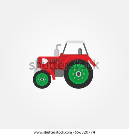 Agrimotor or Tractor. Design of Farm and Agriculture Vector Illustration.
