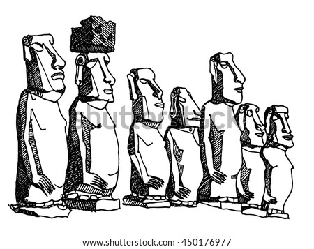 Ahu Tongariki, Easter Island, Chile. Hand drawn ink line vintage sketch American  old historical sculptures. Ink drawing of perspective view. Travel postcard.