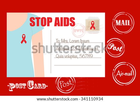 Aids Awareness cards design, women wearing ribbons for World Aids Day. Vector Illustration. - stock vector