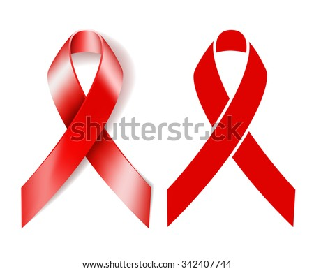 AIDS awareness ribbon. Realistic red ribbon and Silhouette red ribbon isolated on white background. Vector illustration - stock vector