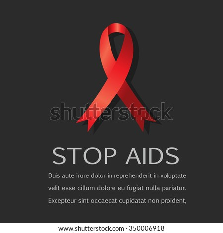 Aids ribbon on black background. - stock vector