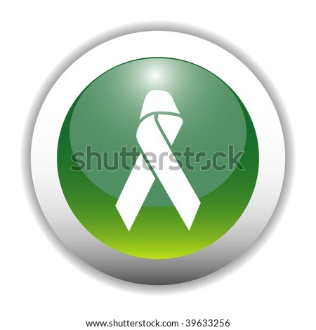 Aids Ribbon Sign Button - stock vector