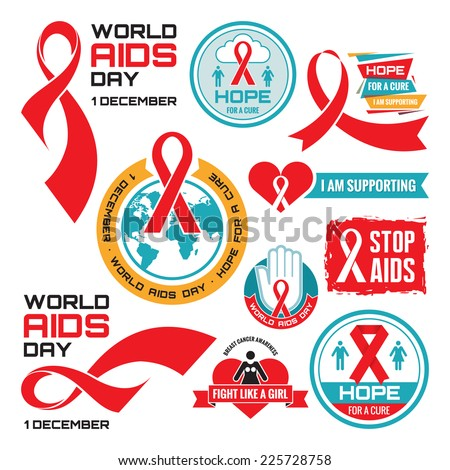 AIDS - vector badges collection. Vector set. Stop AIDS signs set. AIDS red ribbon. AIDS logo collection. World AIDS day - 1 December. HIV & STI. - stock vector